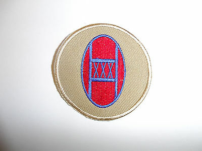b8834 US Army 1930's 30th Infantry Division patch Khaki mchn emb variation