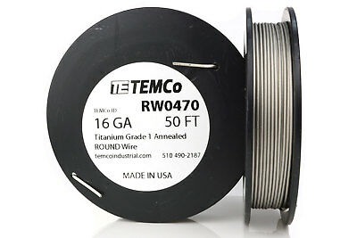 TEMCo Titanium Wire 16 Gauge 50 Ft Surgical Grade 1 Resistance AWG ga