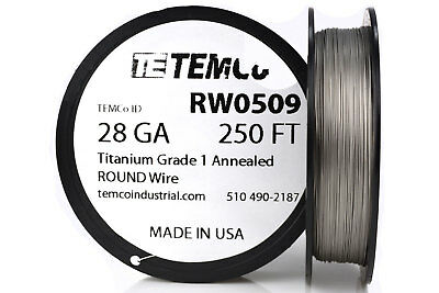 TEMCo Titanium Wire 28 Gauge 250 FT Surgical Grade 1 Resistance AWG ga