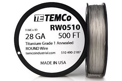 TEMCo Titanium Wire 28 Gauge 500 FT Surgical Grade 1 Resistance AWG ga