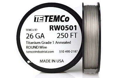 TEMCo Titanium Wire 26 Gauge 250 FT Surgical Grade 1 Resistance AWG ga