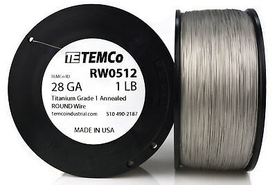 TEMCo Titanium Wire 28 Gauge 1 lb (4098 ft) Surgical Grade 1 Resistance AWG ga