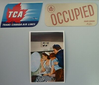 Vintage 1960's Lot of 3 Trans-Canada Air Lines Advertising Paper Labels & Cards