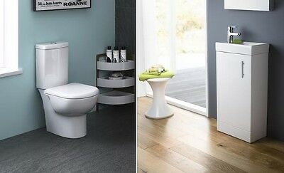 Premier Knedlington Cloakroom Suite with Vanity Unit and Close Coupled Toilet