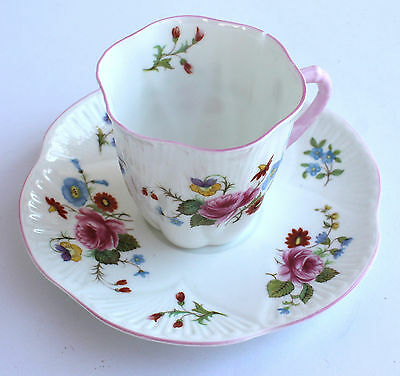 Tea Cup Saucer Floral Bloom Vintage Chipped Shelley Fine Bone China 13425