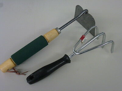 Nos! 2 Garden Hand Tools, Eagle Three Pronged Cultivator And Hand Hoe
