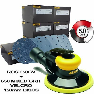 MIRKA ROS 650CV 150mm Orbital Air Sander 5.0mm Orbit + 650 Velco Sanding Discs