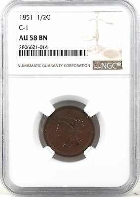 1851 Braided Hair Half Cent AU58 BN NGC Certified, Lovely Coin!