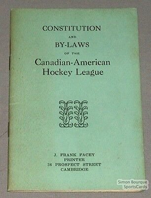 Original Can-Ame Hockey League Constitution and By-Laws