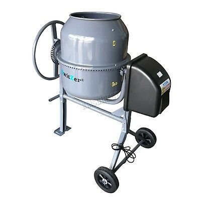 Switzer Electric Cement Mixer – Portable Mortar Plaster Concrete Drum 550W 120L
