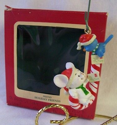 Carlton Cards Ornament 1990 HOLIDAY FRIENDS Mouse Bluebird on Candycane Box HTF