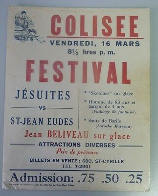 Original 1950's Quebec Coliseum Advertising Broadside With Jean Beliveau