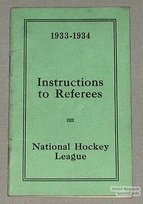 Original 1933-34 NHL Instructions to Referees Brochure