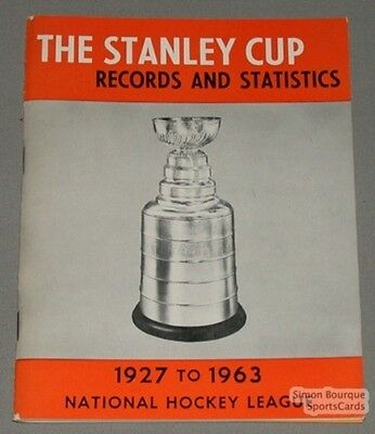 Original 1927-63 The Stanley Cup Records & Stats. Book