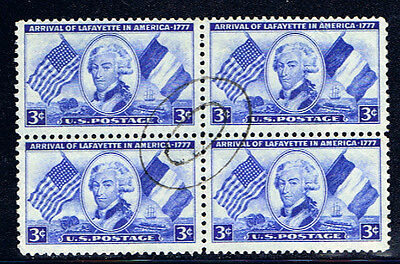United States #1010(2) 1952 3 cent Lafayette BLOCK 2 RING OVAL Cancel