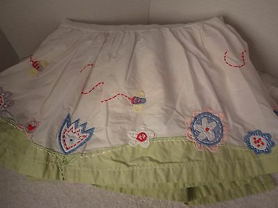 Pottery Barn Kids Flowers Bees Pink Green Yellow Blue Crib Skirt EUC