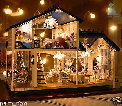 DIY Handcraft Miniature Project Dolls House My Provence Lavender Wooden Villa
