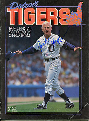 DETROIT TIGERS 1989 Official Scorebook and Program - SIGNED by SPARKY ANDERSON