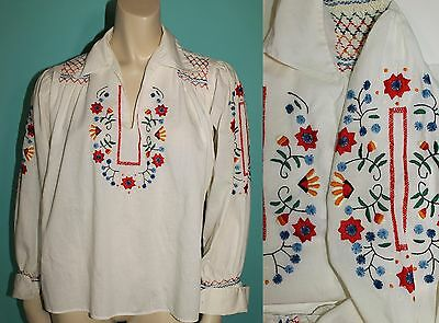 Vintage 40s 50s Embroidered Peasant Ethnic Floral Cotton Blouse Top