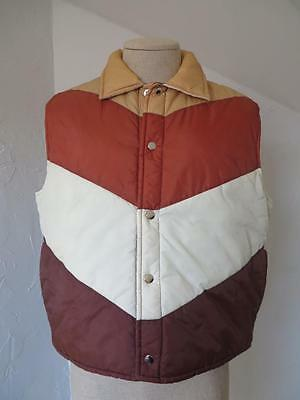 Vintage 1970's 80's brown Sigallo waterproof puffer ski vest L
