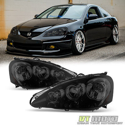 Black Smoked 2005-2006 Acura RSX Headlights Lamps Left+Right Replacement 05-06