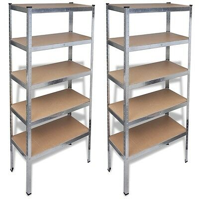 2x Garage Shelving Storage Shelves 90x180cm Racking Stand Warehouse 875kg Steel