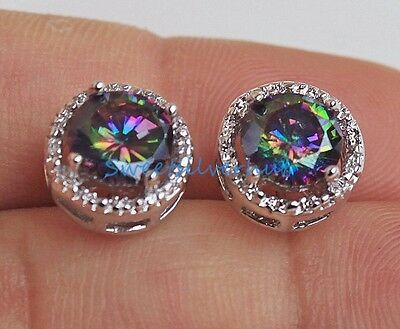 18K White Gold Filled - Round MYSTICAL Topaz Party Gemstone Women Earrings