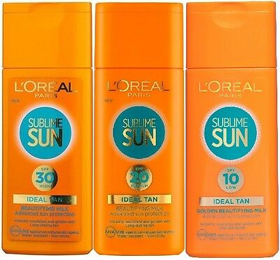 LOreal Paris Sublime Sun Beautifying Milk Sun Cream 200ml - SPF10 SPF20 SPF30