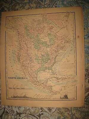 Antique 1860 North America Colton Handcolored Map United States Texas Canada Nr