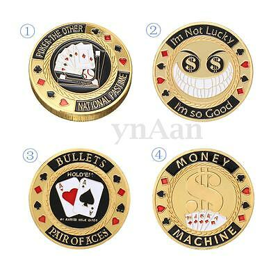 Metal Poker Card Guard Protector Gold Plated Coin Chip + Round Plastic Case Box
