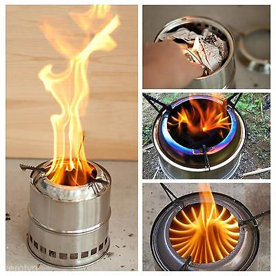 Outdoor Hiking Cooking Picnic BBQ Wood Stove Backpacking Burning Camping Burner