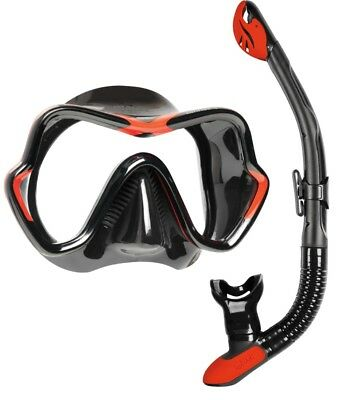 Mares Deluxe Snorkel Set - Silicone Mask and Silicone Dry Snorkel - BLACK RED
