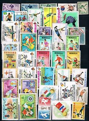 Lot Of 80+ Football  Soccer  Worldwide Mint + Used Stamps