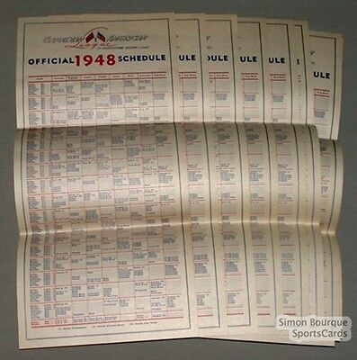 Lot of 10 1948 Can-Am Baseball Official Schedule