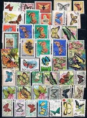 Lot Of 125+ Worldwide Butterflies Used Stamps