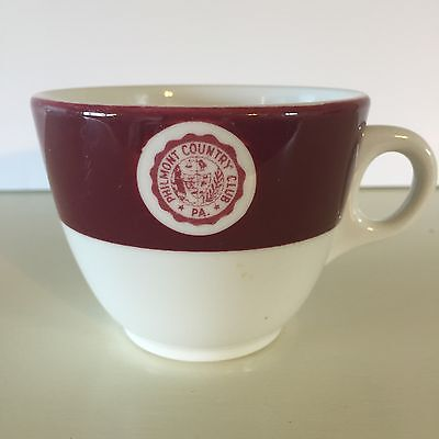 Vintage Mayer China Coffee Cup PHILMONT COUNTRY CLUB PA Burgundy Pennsylvania