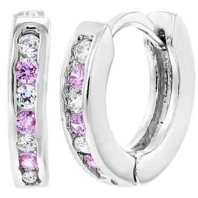 Rhodium Plated XS Tiny Pink & Clear CZ Huggie Baby Girls Earrings 7mm