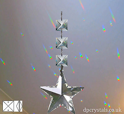 Sun Catcher Hanging Star with 3 Square crystals Feng Shui Rainbow Prism