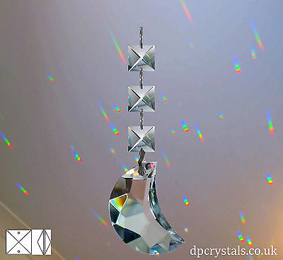 Sun Catcher Hanging Crystal Moon + 3 Square crystals Feng Shui Rainbow Prism