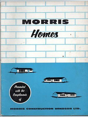 MORRIS HOMES MORRIS CONSTRUCTION WINDSOR 1950s New Home Sales Brochure ONTARIO