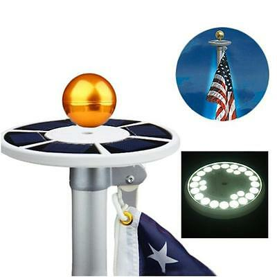 Solar Powered Flag Pole Top Light 26 LED Automatic Waterproof Outdoor Night Lamp