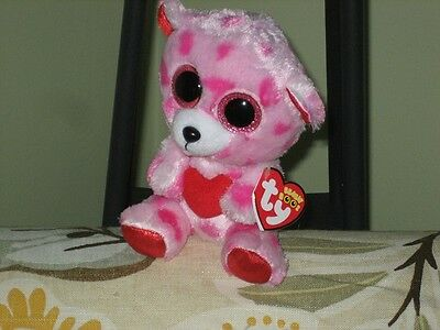 ty BEANIE BABY BOO SWEETIKINS VALENTINE BEAR MWMT 2014 RED HEART TAG SPARKLE EYE
