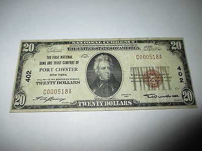 $20 1929 Port Chester New York NY National Currency Bank Note Bill! Ch. #402 VF