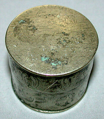 Original Antique 19th C. Chinese Scholar's White Copper Ink Box With Red Seal