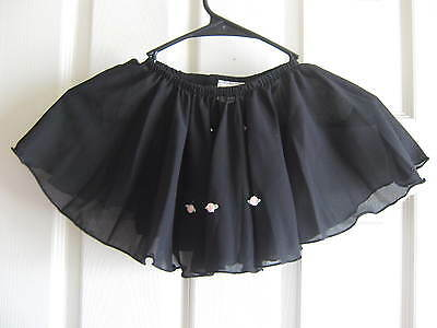 NEW Black Dance Skirt with Pink roses, Body Wrappers, Child size 3-4