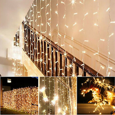 300LED Fairy Lights 3x3M Lights Curtain String Warm White Xmas Wedding Party