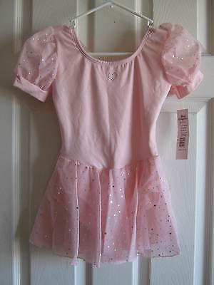 NEW Pink Skirted Leotard, w/ silver hologram dots -Child size 8-10, Body Wrapper