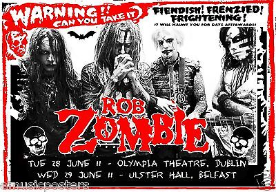 ROB ZOMBIE 2011 DUBLIN & BELFAST, IRELAND CONCERT TOUR POSTER-Fendish! Frenzied!