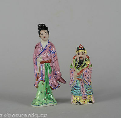 Antique Chinese Porcelain Figure of Man & Woman Late Qing Famille Rose