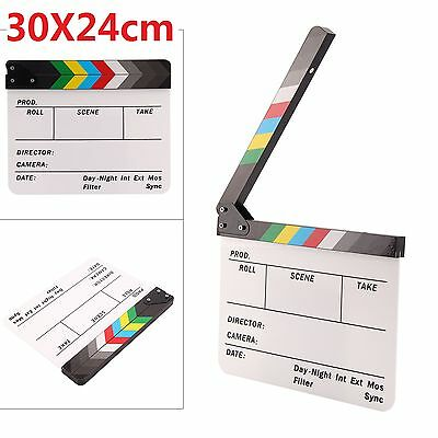Clapboard Acrylic Dry Erase Director Film Movie ClapperBoard Slate Color Sticks